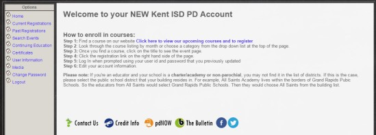 professional learning registration system kent isd