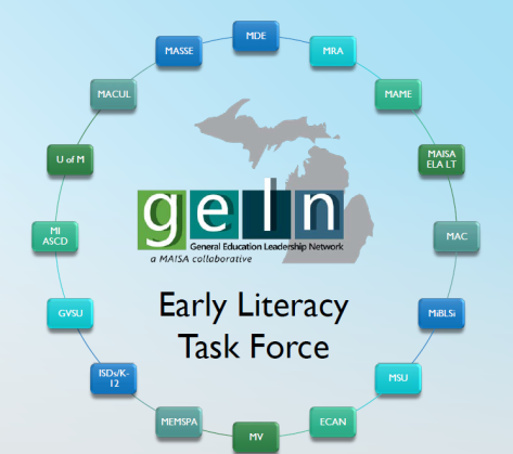 Early Literacy Task Force: glen General Education Leadership Network a MAISA collaborative. MACUL, MASSE, MDE, MRA, MAME, MAISA ELA LT, MAC, MiBLSi, MSU, ECAN, MV, MEMSPA, ISDs/k-12, GVSU, MI ASCD, U of M
